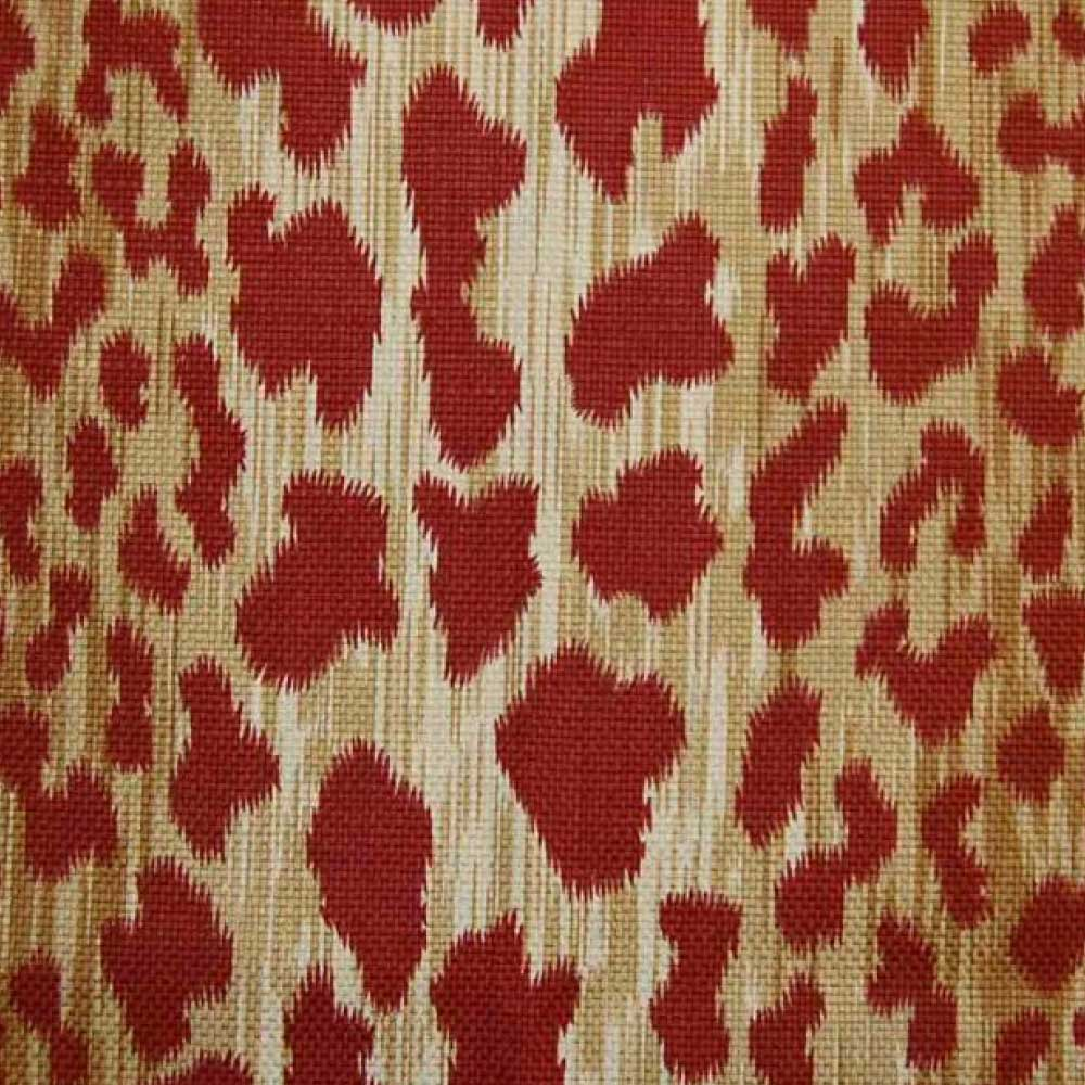 Leopard Print Fabric Red