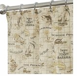 """Nautical Shower Curtains Map 96"""""""