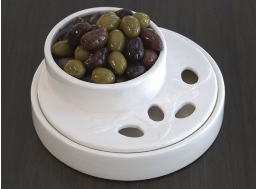 Olive Dish With Pit Holder Large