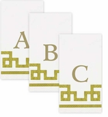 Personalized Hand Towels Gold and White