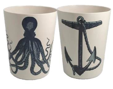 Bathroom Trash Can Garbage Wastebasket Plastic Melamine Nautical Octopus Ebay