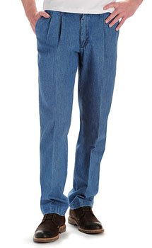 Lee Mens Stain Resistant Pleated Front pants - Stonewash