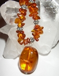 Amber and Bali Silver Necklace with large Amber Nugget