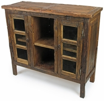 2 Door Rustic Reclaimed Wood Sideboard with Shelves