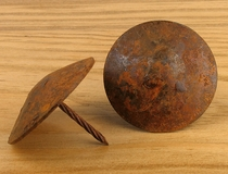 "2"" Round Rusted Iron Smooth Nail Heads - Package of 10"