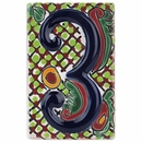 Set of 3 Talavera House Number Tiles - Embossed 3-D Multi-Color