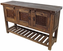 3 Door Old Wood Buffet with Slat Bottom and Iron Accents