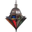 8 Point Colored Glass and Punched Tin Hanging Light Fixture