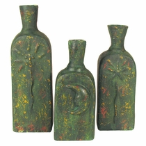 Aged Clay Celestial Vases - Set of 3