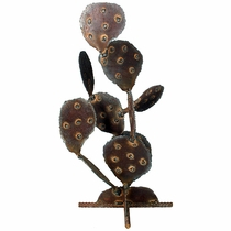 Aged Steel Prickly Pear Cactus Sculpture