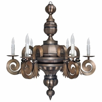 Aged Tin 6 Arm Chandelier