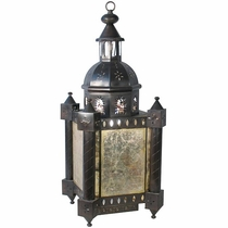 Aged Tin Colonial Light Fixture <br>with Antiqued Mirrored Panels