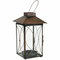 Aged Tin Double Moon Candle Lantern