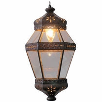 Aged Tin Hanging Hexagonal Flower Light Fixture