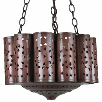 Aged Tin Luminaria Chandelier