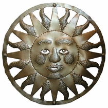 Aged Tin Mexican Sun Face 24""