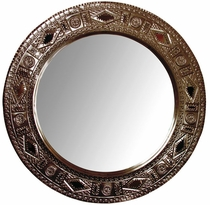 Aged Tin Round Chinese Mirror