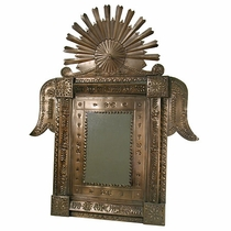 Aged Tin Small Crown Mirror