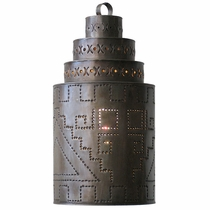Aged Tin Southwest Cylinder Light Fixture
