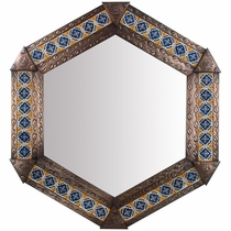 Aged Tin & Tile Hex Mirror
