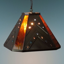 Amber Glass & Marble Rustic Pendant Light