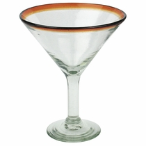 Amber Rimmed Martini Glass - Set of 4 Glasses