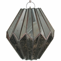 Antiqued Mirrored Glass Diamond Pendant Light