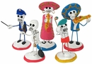 Assorted Day of the Dead Clay Skeleton Figures - Set of 2