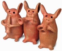 Assorted Mexican Clay Rabbit Musicians
