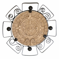 Aztec Sun Plaque with Iron Frame