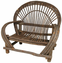 Bent Wood Twig Loveseat - With Bark