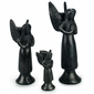 Black Clay Angel Candleholders - Oaxacan Pottery