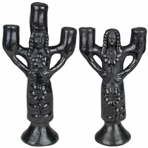 Black Clay Flower Girl Candle Holders - Oaxacan Pottery