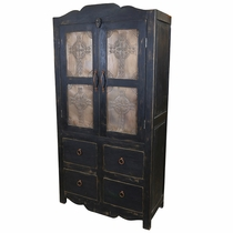 Black Painted Wood Armoire with Cross Embossed Tin Doors - 2 Door - 4 Drawer