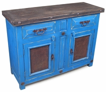 Blue Painted Wood Buffet with Embossed Tin Panel Doors