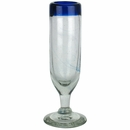 Blue Rim Champagne Flutes - Set of 4