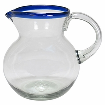 Blue Rimmed Hand Blown Glass Pitcher