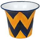 Blue & Yellow Chevron Talavera Flower Pot
