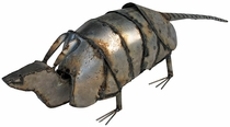 Bobbing Head Metal Armadillo Yard Art Sculptures