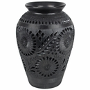 Carved Oaxacan Black Clay Vase with Flower Designs