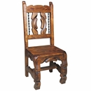 Carved Ox Yoke Dining Chair with Twisted Iron Bars
