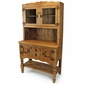 Country Rustic Pine Kitchen Hutch with Glass