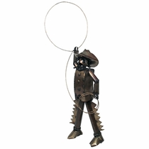 Cowboy with Lasso Metal Yard Art Sculpture