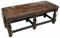 Cowhide & Leather Western Bench
