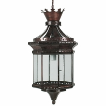 Crown 8 sided Tin and Glass Hanging Lantern
