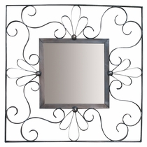 Curled Aged Tin Square Mirror