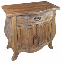 Curved Rustic Wood Double Door Buffet with Drawer