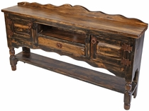 Dark Rustic Wood Turned Leg Buffet Table with 2 Doors, 1 Drawer and Shelf