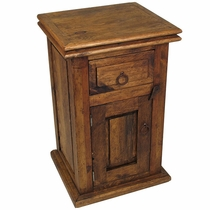 Dark Stained Rustic Pine Nightstand with 1 Drawer & 1 Door