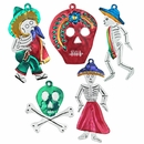 Day of the Dead Painted Tin Skeleton Ornaments - Set of Five